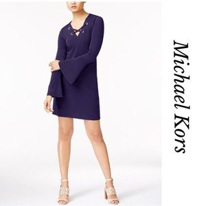 COMING SOON MK  LACE UP BELL SLEEVES DRESS
